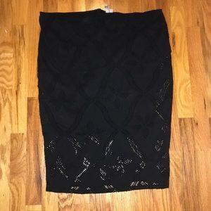 ASOS Black Midi Pencil Skirt-Size: 16